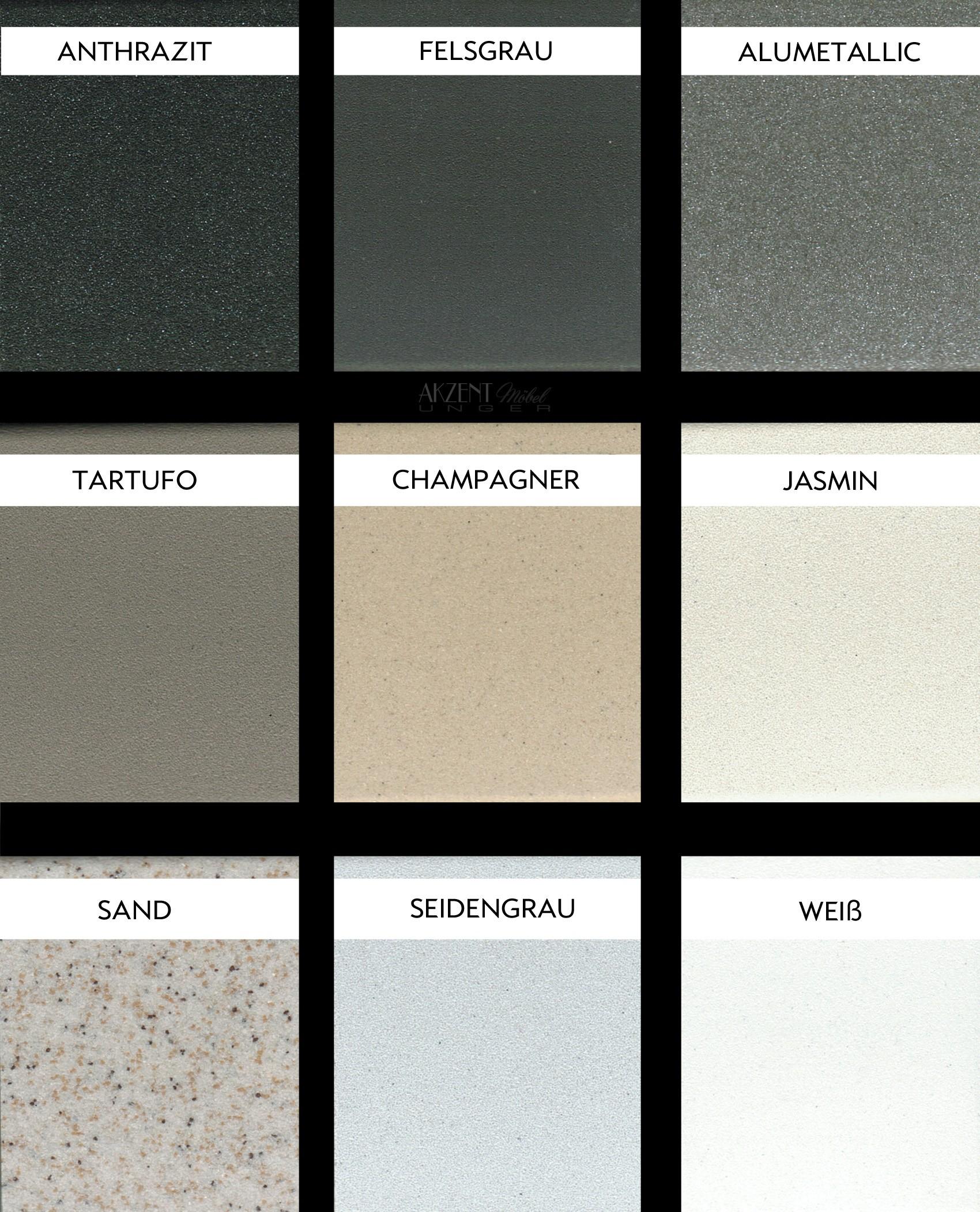 Farbpalette für verschiedene Silgranit Spülen