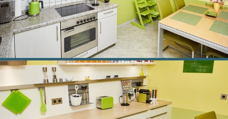 Küche umbauen: Vorher Nachher Projekt einer modernen hellen freundliche Küche in München