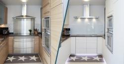 Vorher/Nachher Ansicht einer hellen Küche mit dunkler Arbeitsplatte