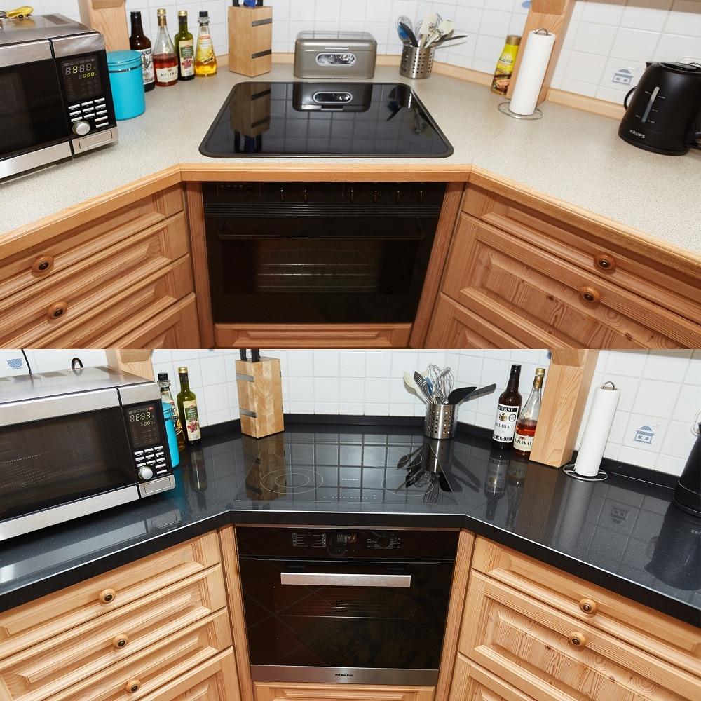 Vorher und Nachherbild - Küche mit und ohne Quarzsteinplatte
