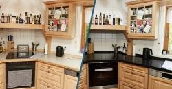 Vorher Nachher Ansicht mit Quarzsteinplatte in der Küche