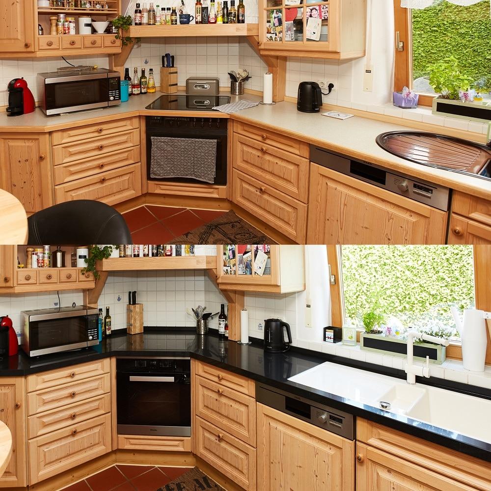 Vorher Nachher Ansicht der Küche mit Quarzsteinplatte