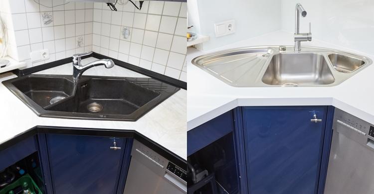 Spülbecken vorher/nachher in einer blau weißen Küche