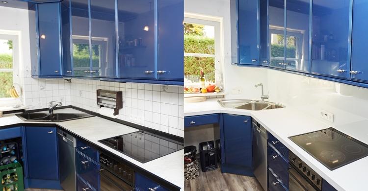 Vorher und Nachher Ansicht einer blau weißen Küche