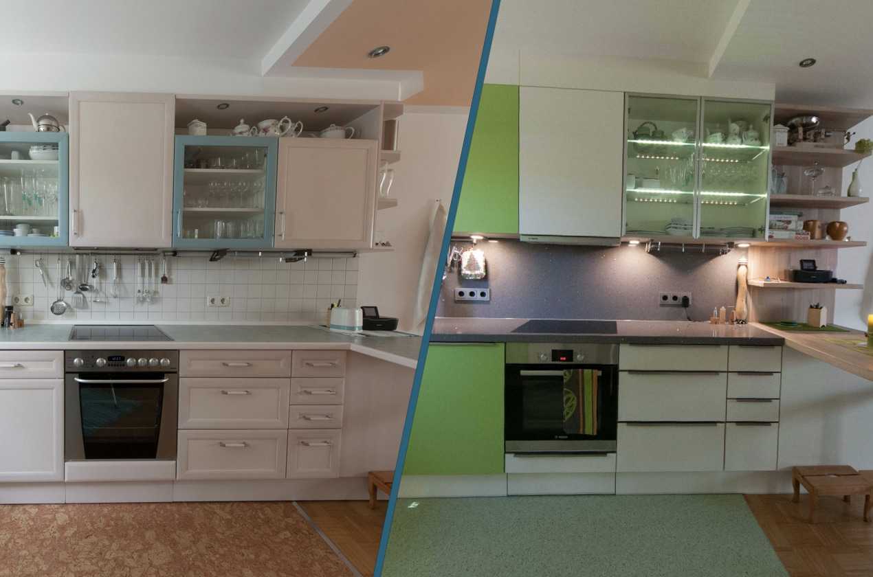 Vorher/Nachher Projekt Küche hochglanz oder matt