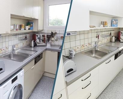 Neu-Gestaltung kleine Küche: vorher und nachher Ansicht