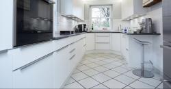 Gestaltung einer Küche mit Arbeitsplatte aus Naturstein und matten Küchenfronten-gesamtansicht