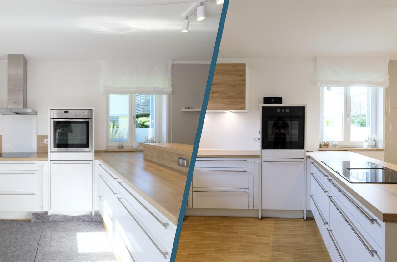 Küchenrenovierungen - Vorher Nachher - natütliche Küche